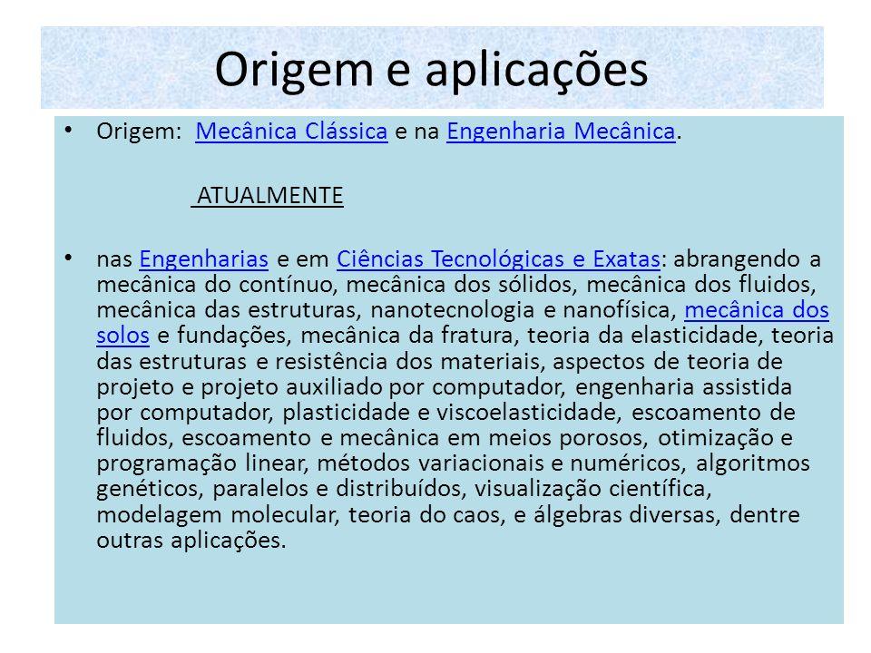 Origem e aplicações Origem: Mecânica Clássica e na Engenharia Mecânica. ATUALMENTE.