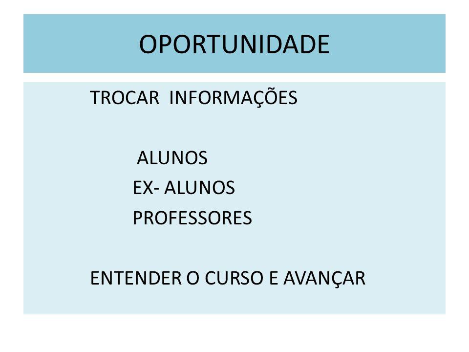 OPORTUNIDADE TROCAR INFORMAÇÕES ALUNOS EX- ALUNOS PROFESSORES ENTENDER O CURSO E AVANÇAR