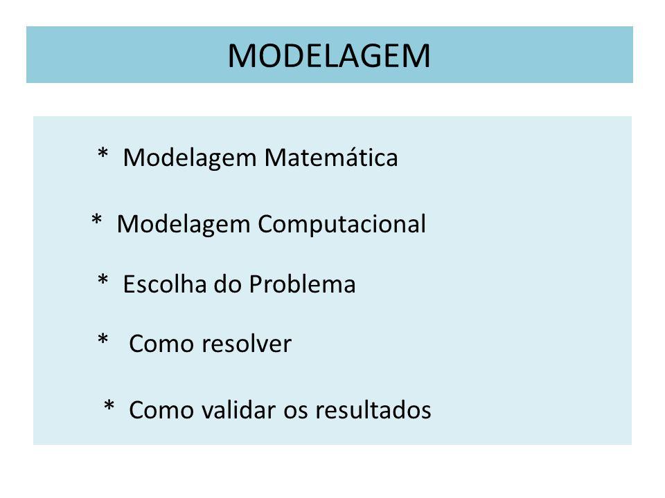 MODELAGEM * Modelagem Matemática * Modelagem Computacional