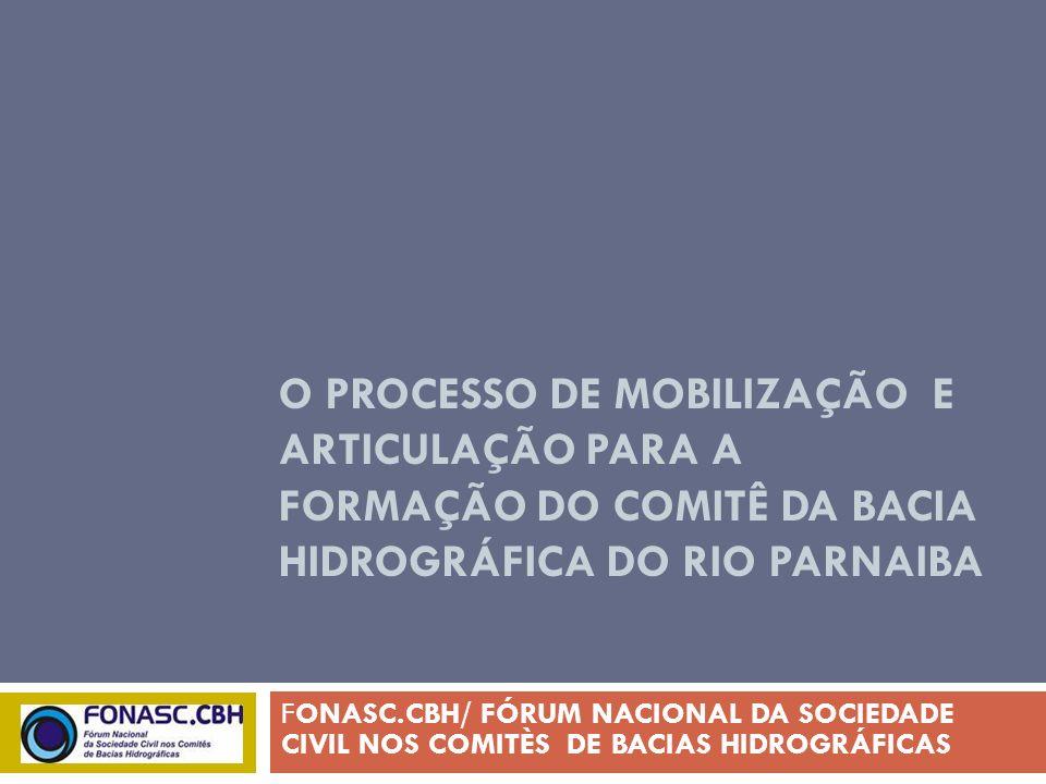 O PROCESSO DE MOBILIZAÇÃO E ARTICULAÇÃO PARA A FORMAÇÃO DO COMITÊ DA BACIA HIDROGRÁFICA DO RIO PARNAIBA