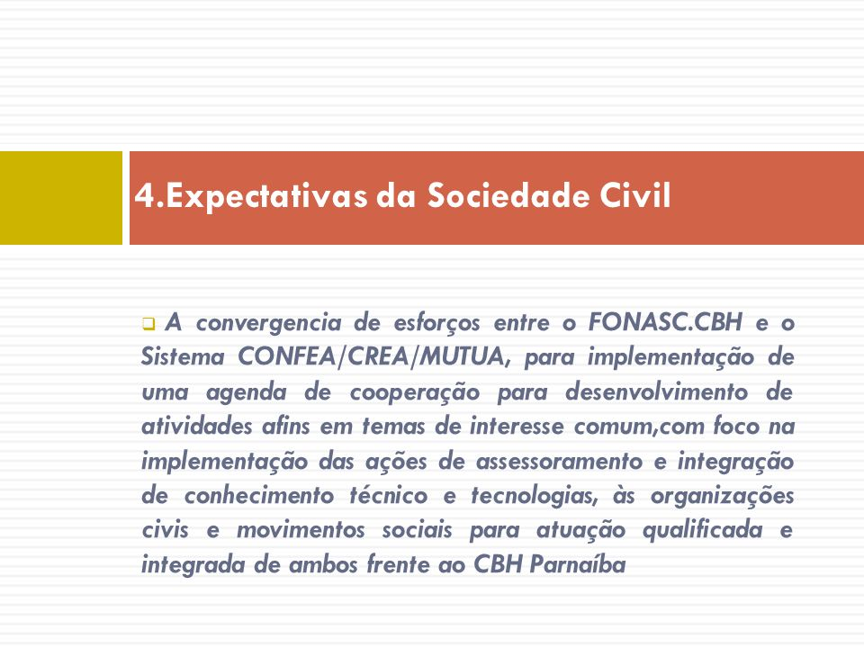4.Expectativas da Sociedade Civil