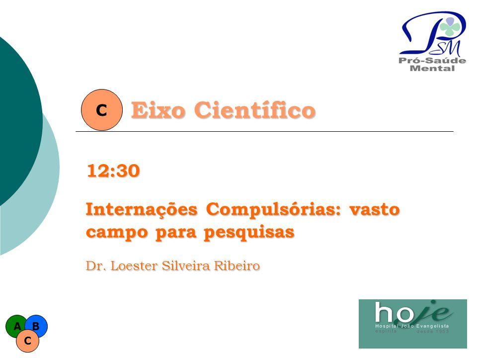 C Eixo Científico. 12:30. Internações Compulsórias: vasto campo para pesquisas. Dr. Loester Silveira Ribeiro.
