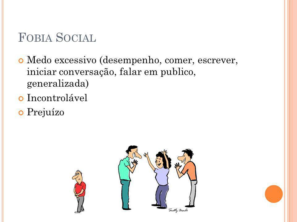 Fobia Social Medo excessivo (desempenho, comer, escrever, iniciar conversação, falar em publico, generalizada)