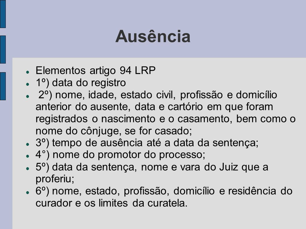 Ausência Elementos artigo 94 LRP 1º) data do registro