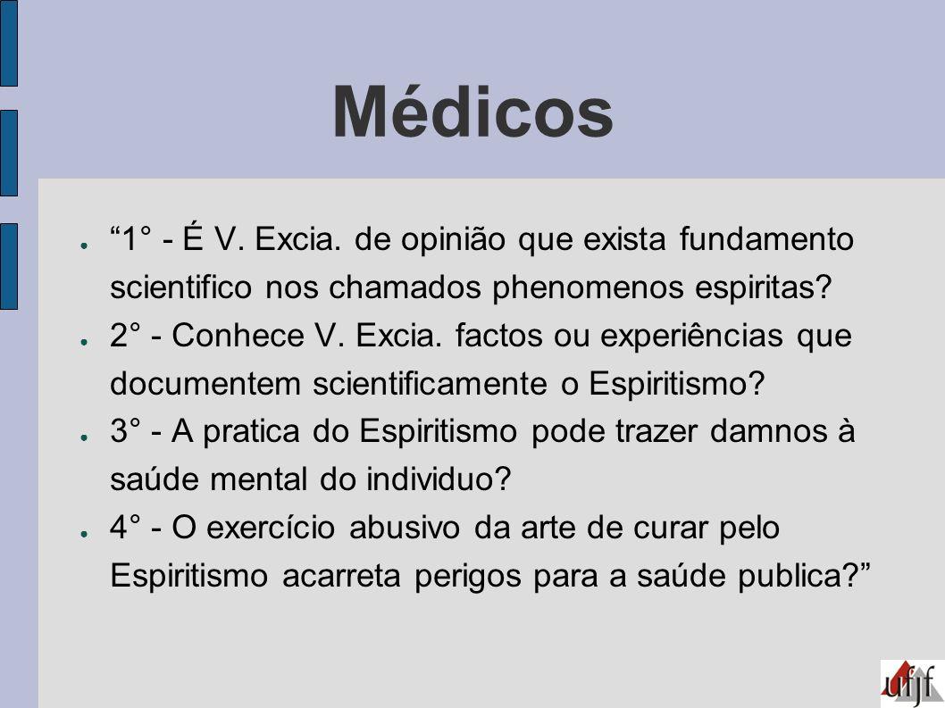 Médicos 1° - É V. Excia. de opinião que exista fundamento scientifico nos chamados phenomenos espiritas
