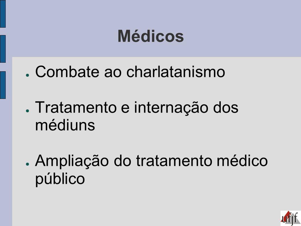 Médicos Combate ao charlatanismo Tratamento e internação dos médiuns