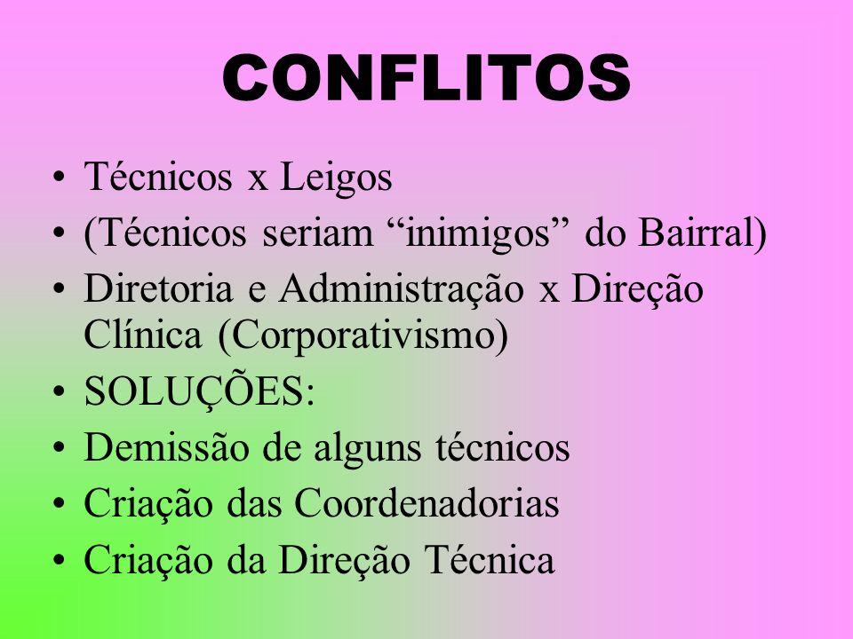 CONFLITOS Técnicos x Leigos (Técnicos seriam inimigos do Bairral)