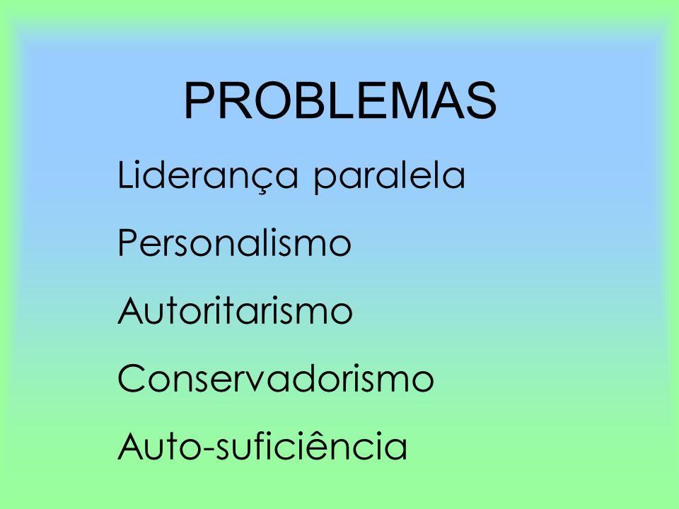 PROBLEMAS Liderança paralela Personalismo Autoritarismo