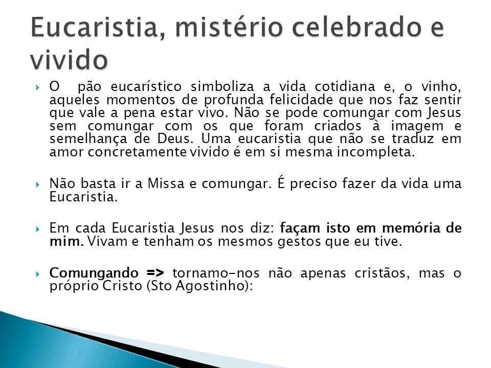 Eucaristia, mistério celebrado e vivido
