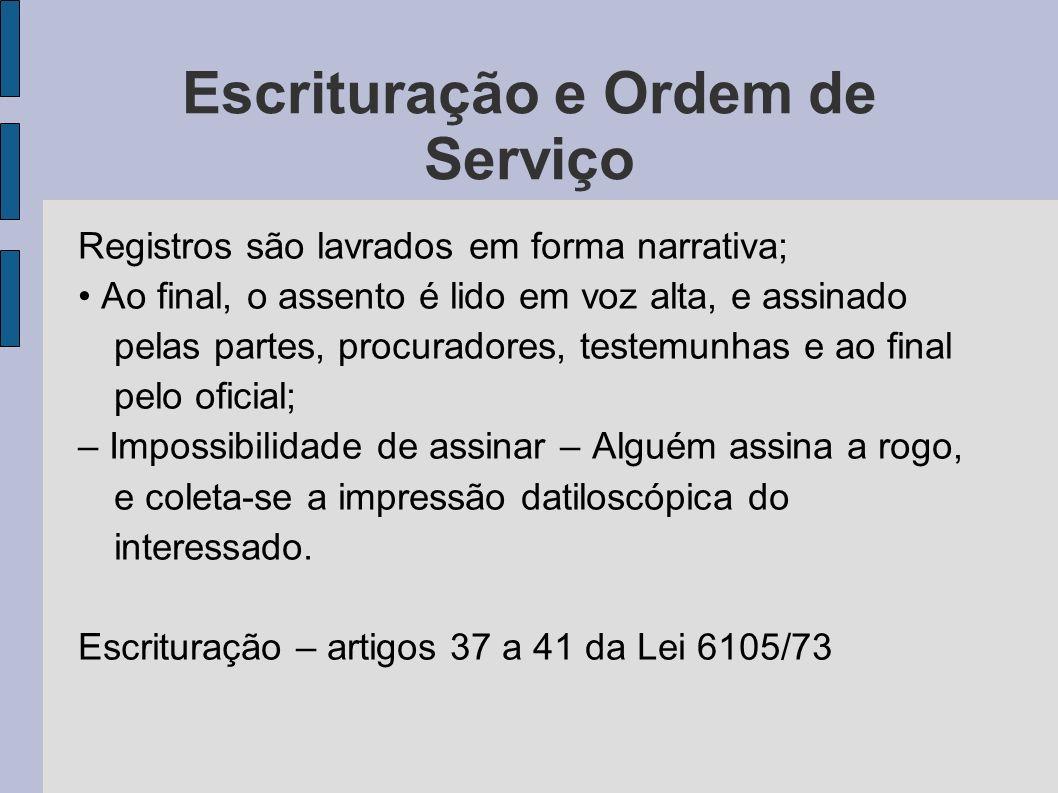 Escrituração e Ordem de Serviço