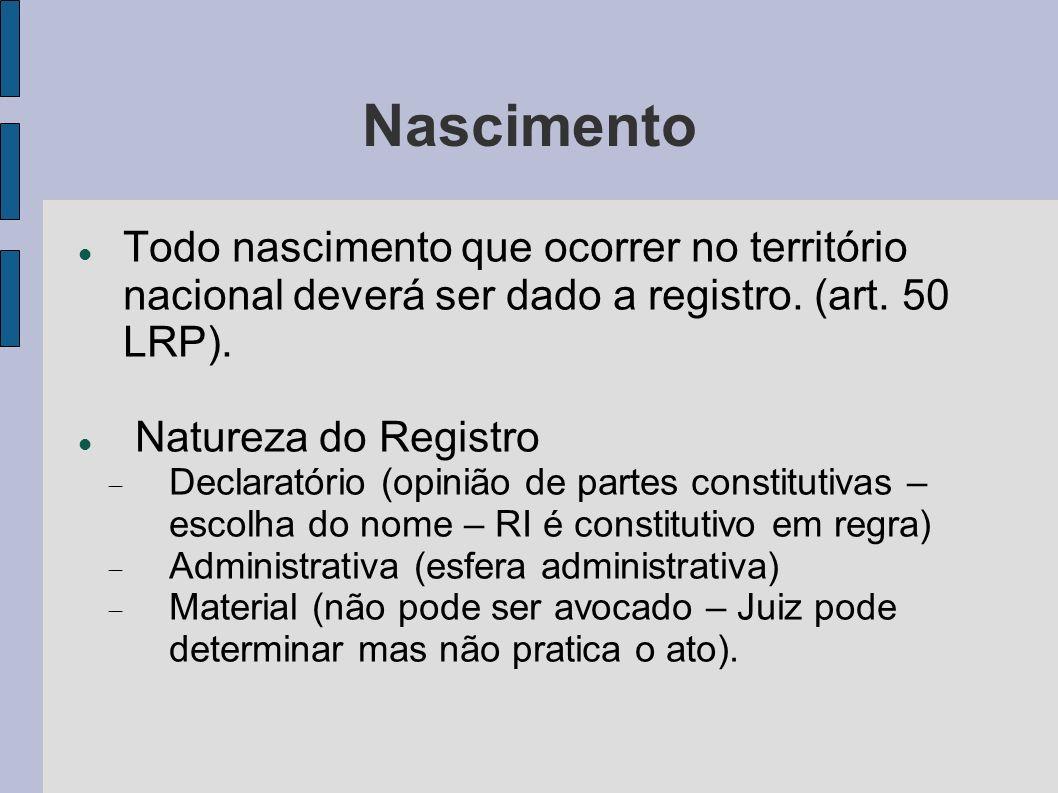 Nascimento Todo nascimento que ocorrer no território nacional deverá ser dado a registro. (art. 50 LRP).