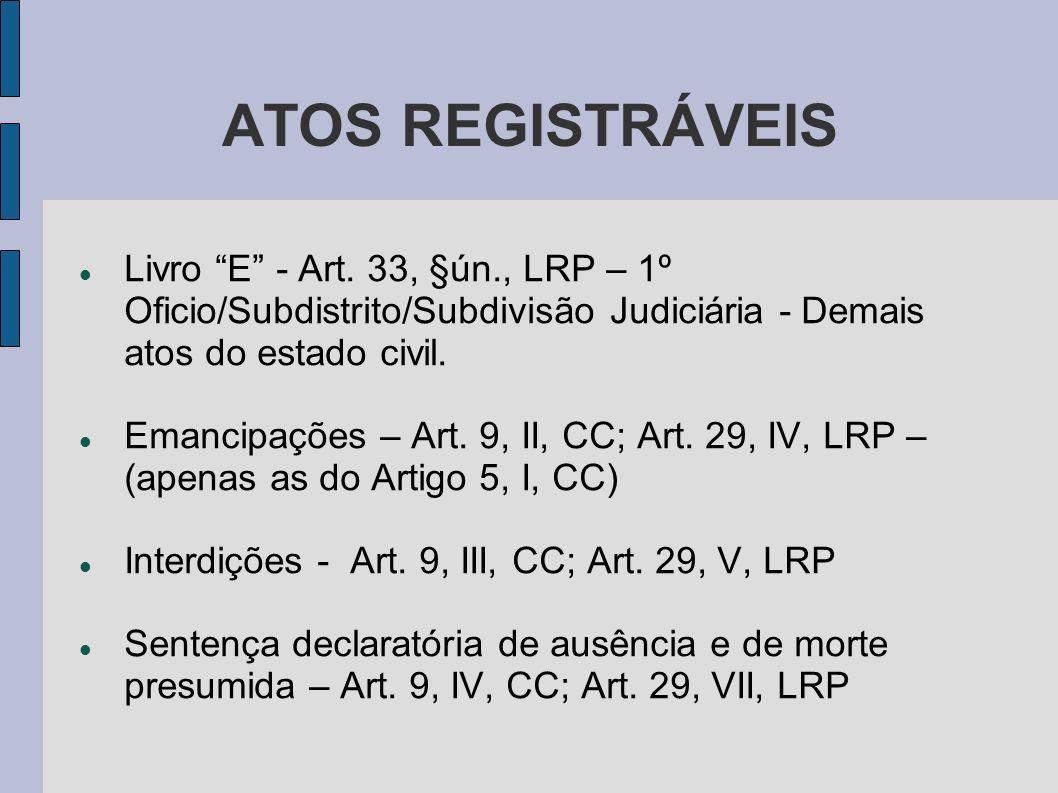 ATOS REGISTRÁVEIS Livro E - Art. 33, §ún., LRP – 1º Oficio/Subdistrito/Subdivisão Judiciária - Demais atos do estado civil.