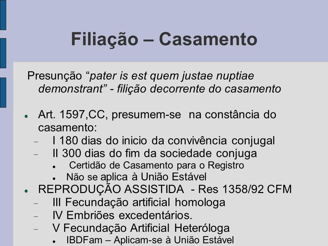 Filiação – Casamento Presunção pater is est quem justae nuptiae demonstrant - filição decorrente do casamento.