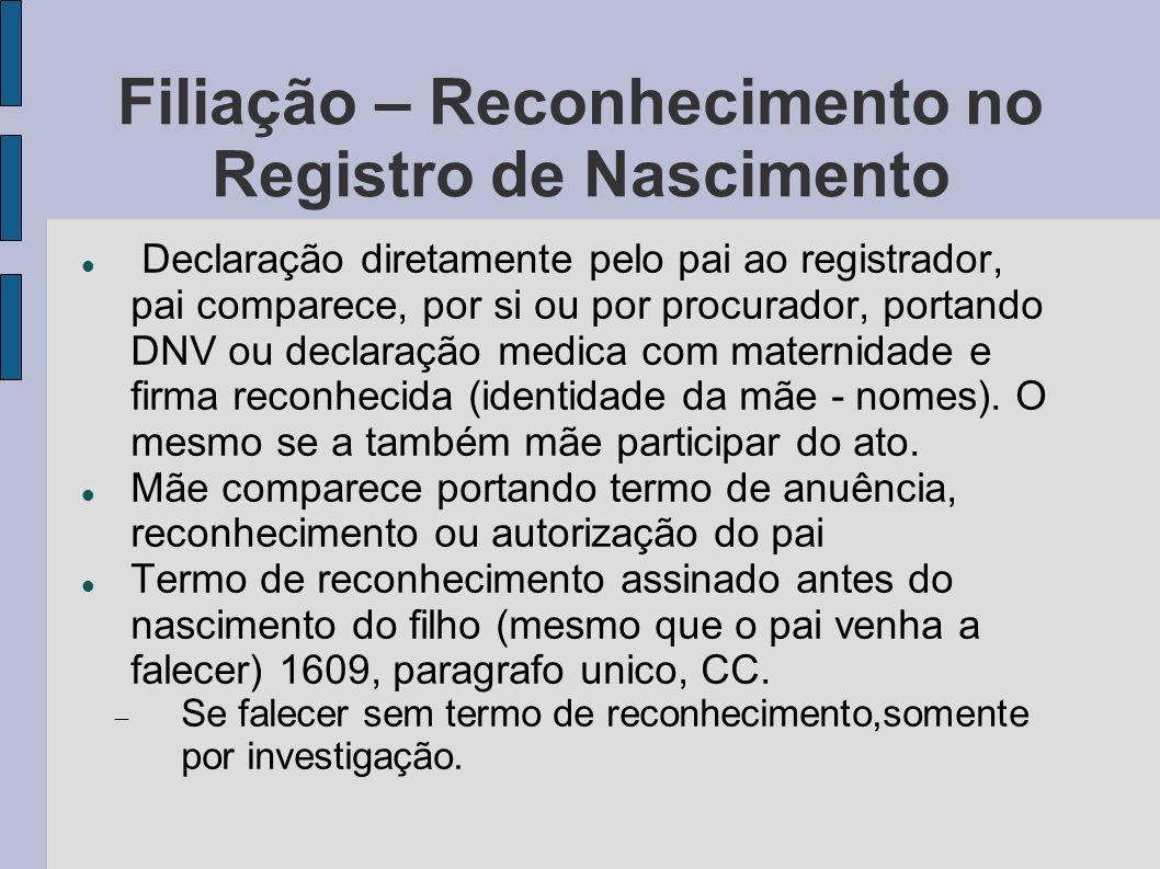 Filiação – Reconhecimento no Registro de Nascimento