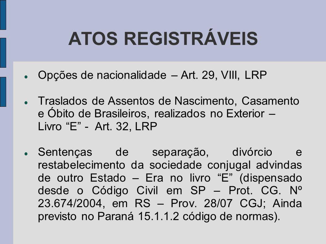 ATOS REGISTRÁVEIS Opções de nacionalidade – Art. 29, VIII, LRP