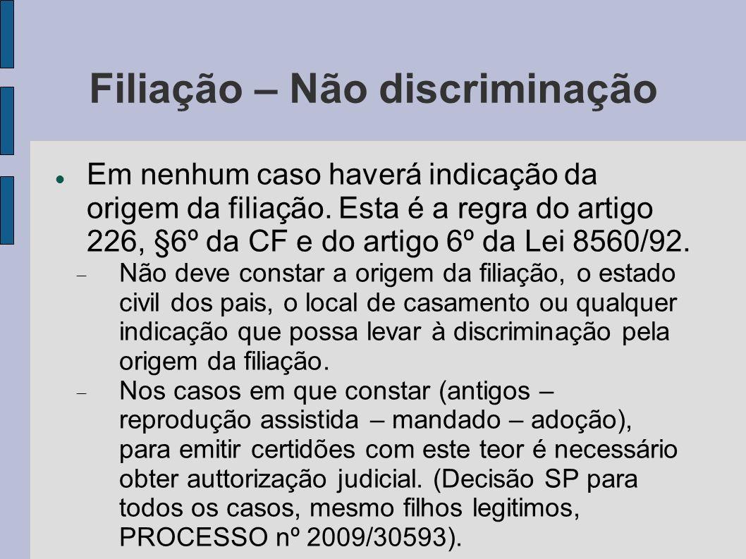Filiação – Não discriminação