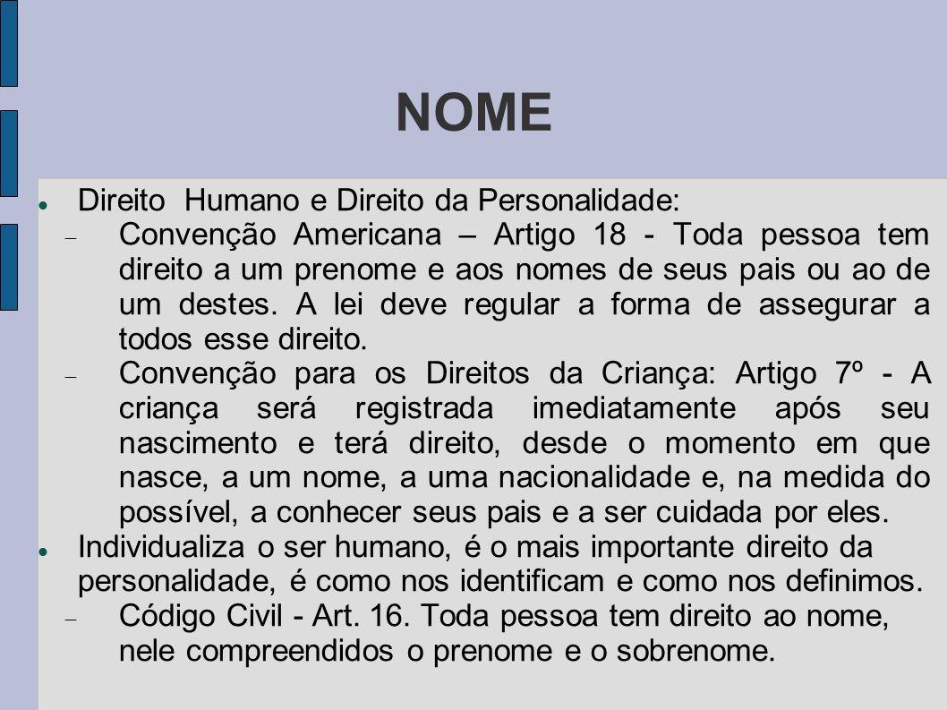 NOME Direito Humano e Direito da Personalidade: