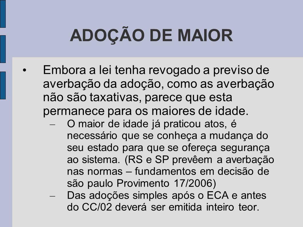 ADOÇÃO DE MAIOR