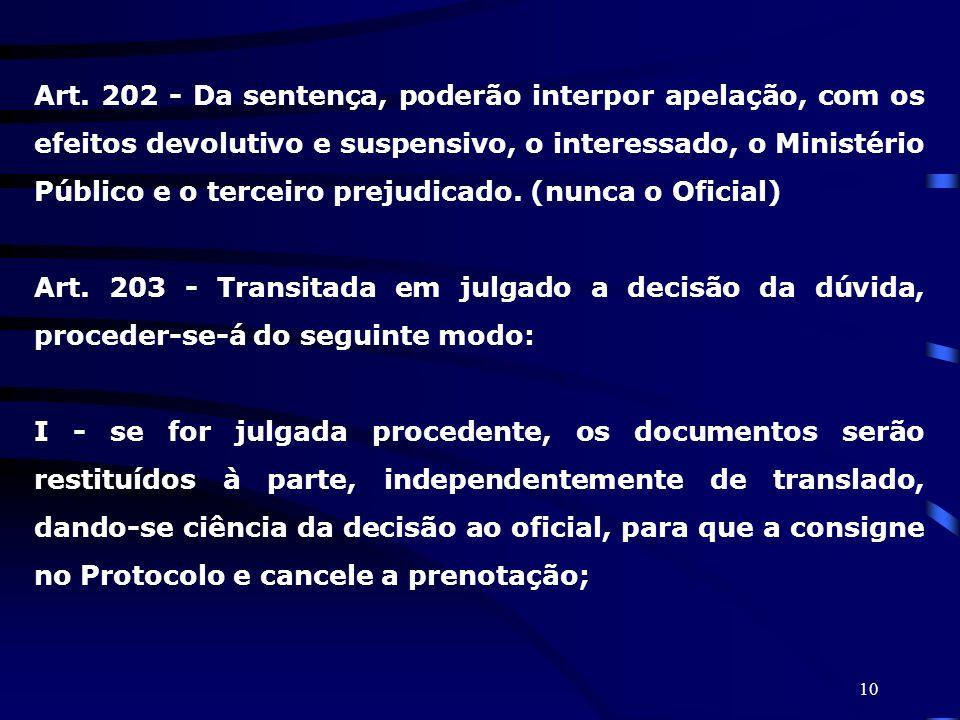 Art. 202 - Da sentença, poderão interpor apelação, com os efeitos devolutivo e suspensivo, o interessado, o Ministério Público e o terceiro prejudicado. (nunca o Oficial)