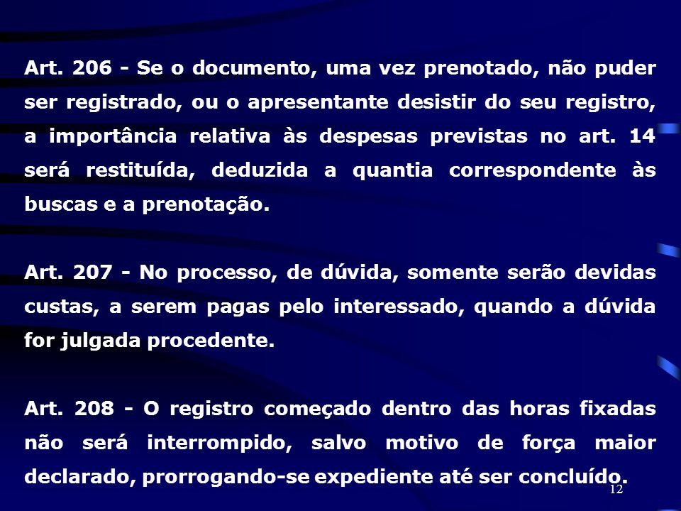 Art. 206 - Se o documento, uma vez prenotado, não puder ser registrado, ou o apresentante desistir do seu registro, a importância relativa às despesas previstas no art. 14 será restituída, deduzida a quantia correspondente às buscas e a prenotação.
