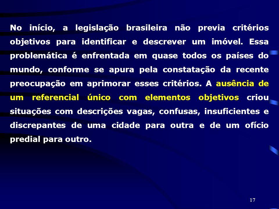 No início, a legislação brasileira não previa critérios objetivos para identificar e descrever um imóvel.