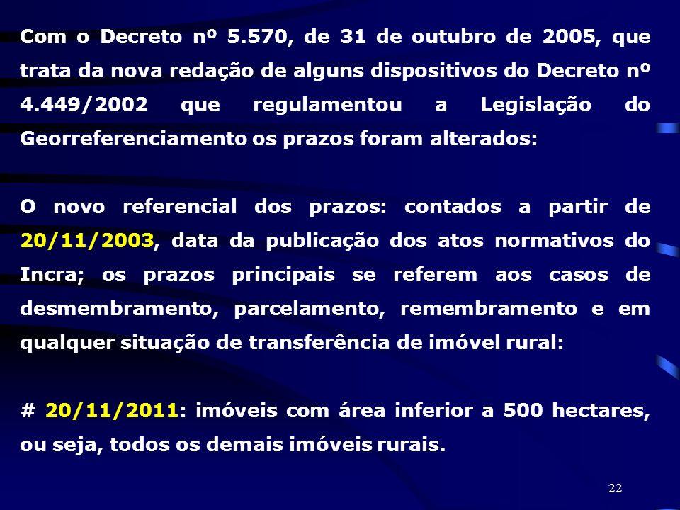 Com o Decreto nº 5.570, de 31 de outubro de 2005, que trata da nova redação de alguns dispositivos do Decreto nº 4.449/2002 que regulamentou a Legislação do Georreferenciamento os prazos foram alterados: