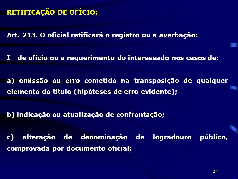RETIFICAÇÃO DE OFÍCIO: