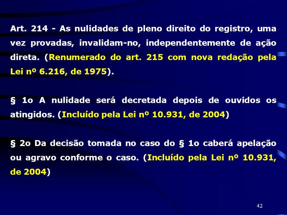 Art. 214 - As nulidades de pleno direito do registro, uma vez provadas, invalidam-no, independentemente de ação direta. (Renumerado do art. 215 com nova redação pela Lei nº 6.216, de 1975).
