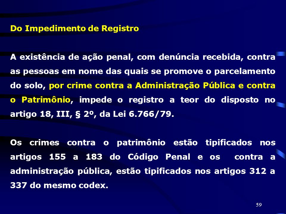 Do Impedimento de Registro