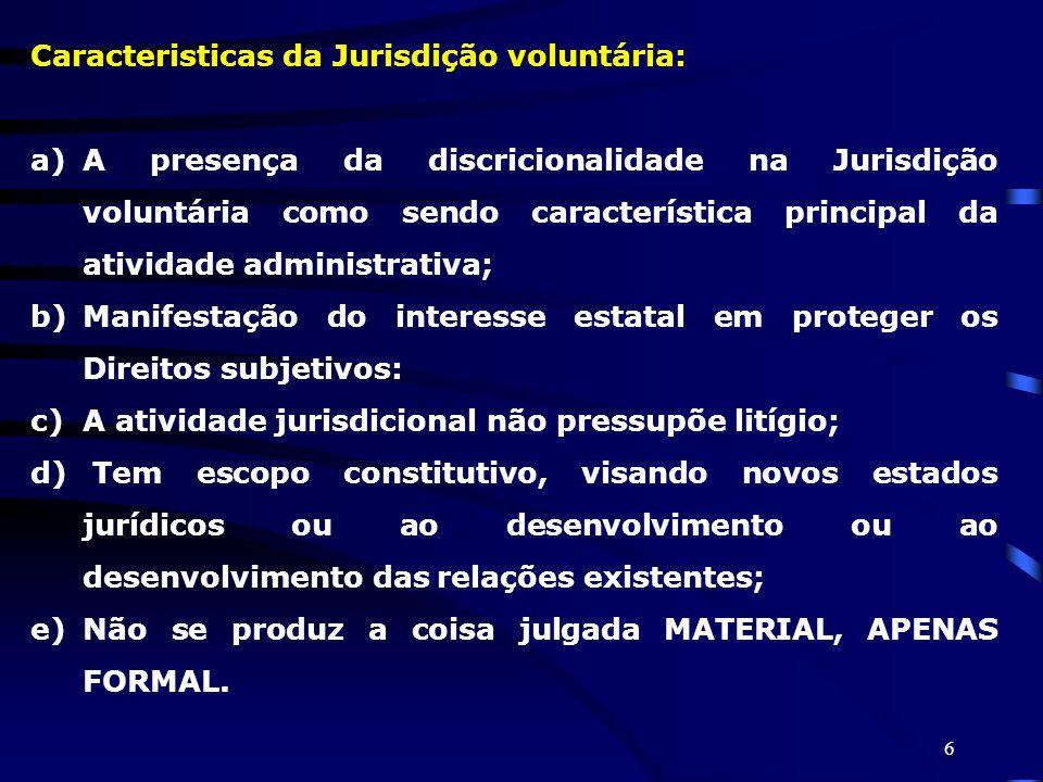 Caracteristicas da Jurisdição voluntária:
