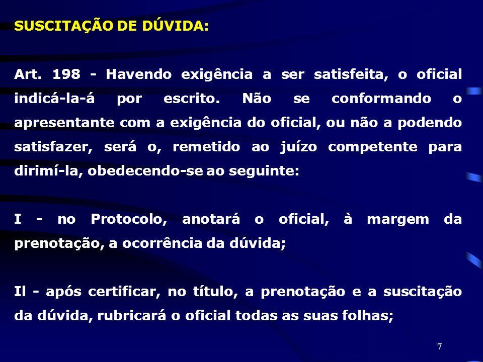 SUSCITAÇÃO DE DÚVIDA: