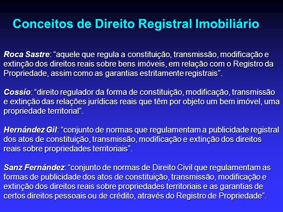 Conceitos de Direito Registral Imobiliário