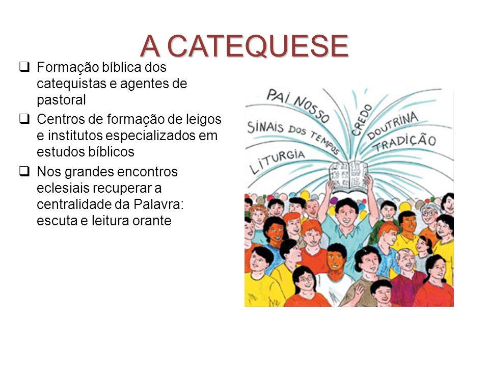 A CATEQUESE Formação bíblica dos catequistas e agentes de pastoral