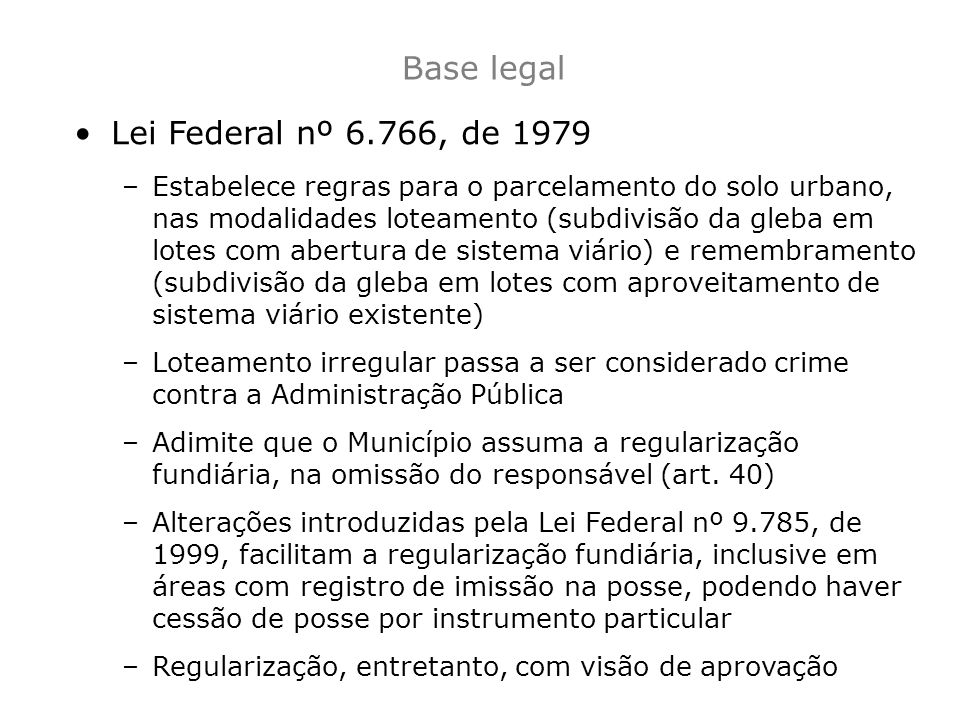 Base legal Lei Federal nº 6.766, de 1979