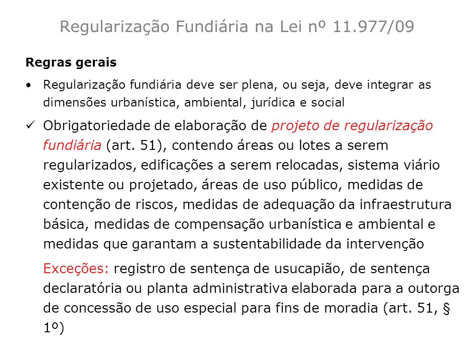 Regularização Fundiária na Lei nº 11.977/09