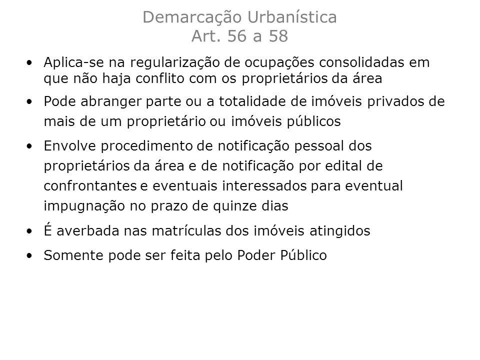 Demarcação Urbanística Art. 56 a 58
