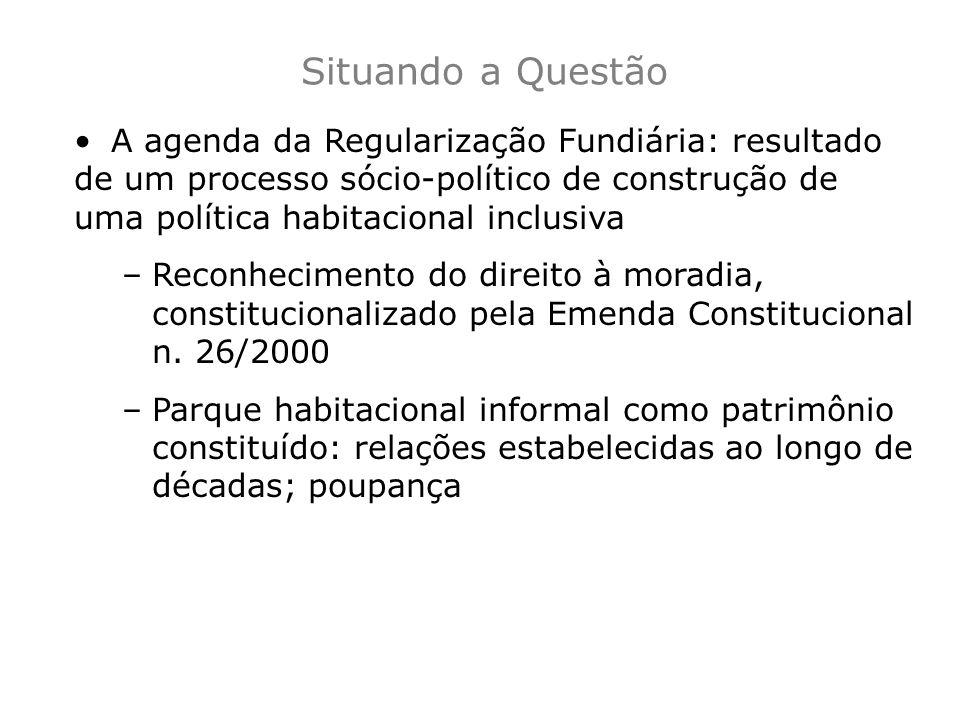 Situando a Questão A agenda da Regularização Fundiária: resultado de um processo sócio-político de construção de uma política habitacional inclusiva.