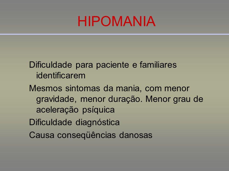 HIPOMANIA Dificuldade para paciente e familiares identificarem