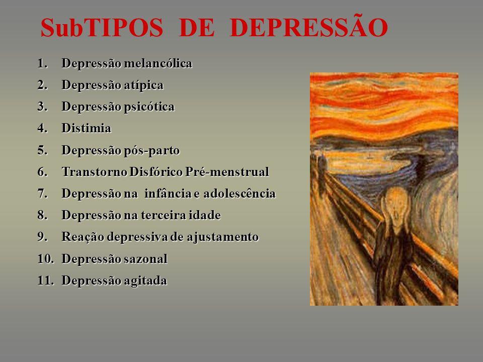 SubTIPOS DE DEPRESSÃO Depressão melancólica Depressão atípica