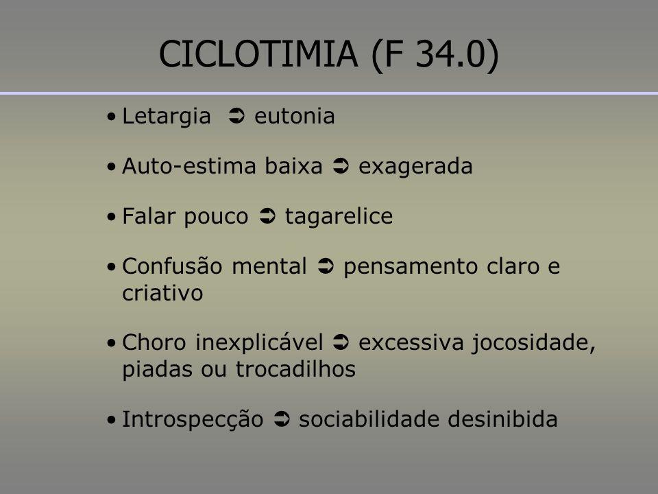 CICLOTIMIA (F 34.0) Letargia  eutonia Auto-estima baixa  exagerada