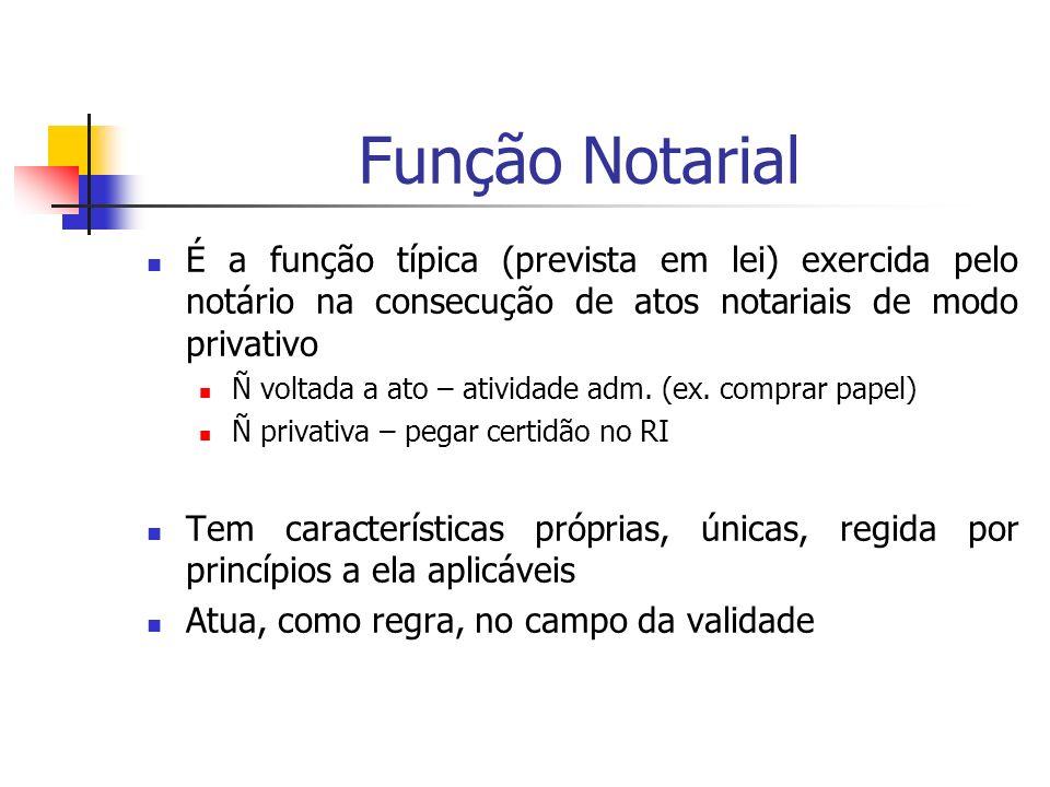 Função Notarial É a função típica (prevista em lei) exercida pelo notário na consecução de atos notariais de modo privativo.