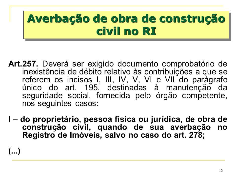 Averbação de obra de construção civil no RI