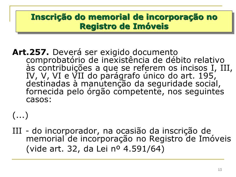 Inscrição do memorial de incorporação no Registro de Imóveis