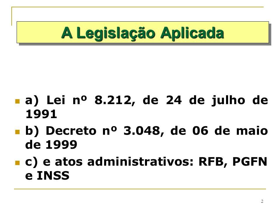 A Legislação Aplicada a) Lei nº 8.212, de 24 de julho de 1991
