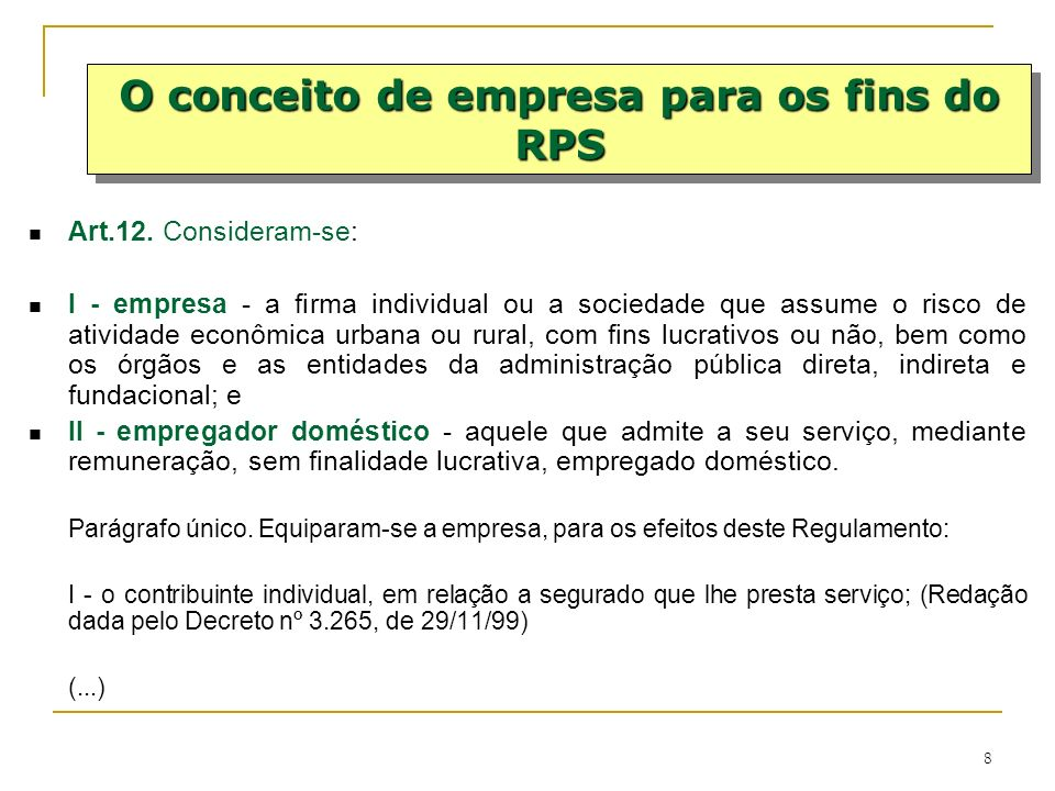 O conceito de empresa para os fins do RPS