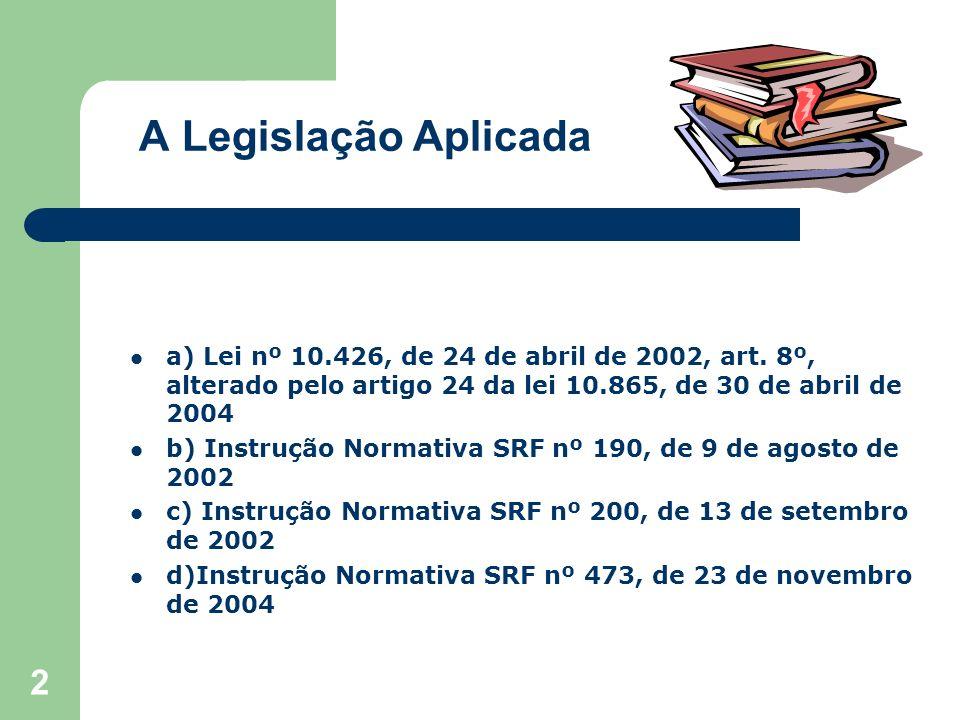 A Legislação Aplicada a) Lei nº 10.426, de 24 de abril de 2002, art. 8º, alterado pelo artigo 24 da lei 10.865, de 30 de abril de 2004.