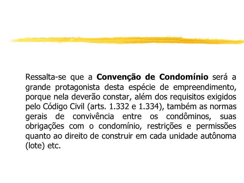 Ressalta-se que a Convenção de Condomínio será a grande protagonista desta espécie de empreendimento, porque nela deverão constar, além dos requisitos exigidos pelo Código Civil (arts.