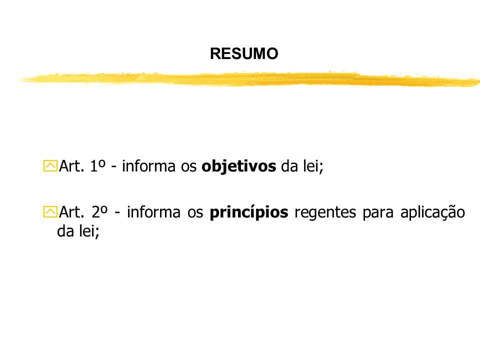 RESUMO Art. 1º - informa os objetivos da lei; Art.