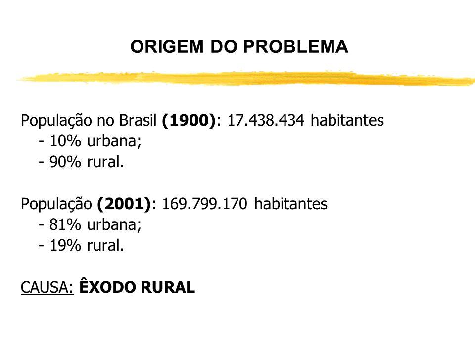 ORIGEM DO PROBLEMA População no Brasil (1900): 17.438.434 habitantes