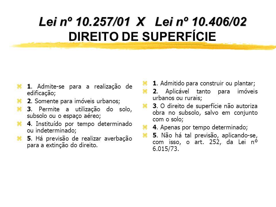 Lei nº 10.257/01 X Lei nº 10.406/02 DIREITO DE SUPERFÍCIE